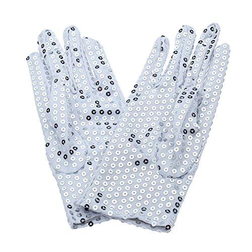 Yanseller Child Michael Jackson Costume Dress up Dance Sequin Gloves(1pair) (White)